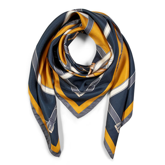 Alphabet 'A' Silk Scarf in Navy & Mustard from Aspinal of London