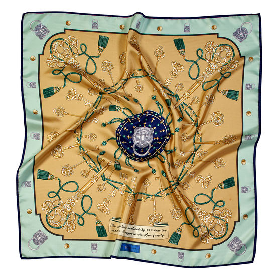 Lion & Key Silk Scarf in Gold & Peppermint from Aspinal of London