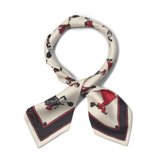 Guard Girls Pure Silk Neck Bow Scarf in Ivory Saffiano from Aspinal of London