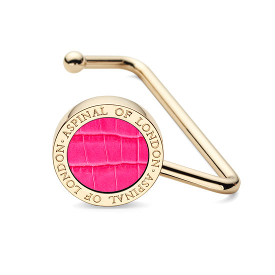 Aspinal Handbag Hook in Deep Shine Penelope Pink Small Croc from Aspinal of London