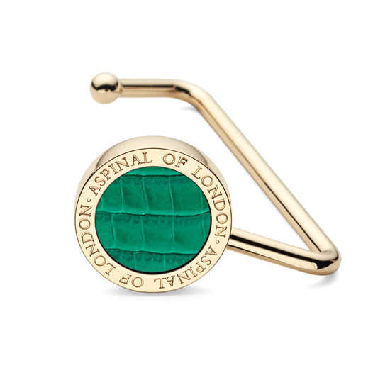 Aspinal Handbag Hook in Deep Shine Emerald Green Small Croc from Aspinal of London