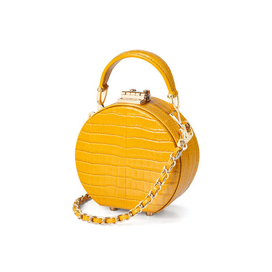 Micro Hat Box in Deep Shine Bright Mustard Small Croc from Aspinal of London