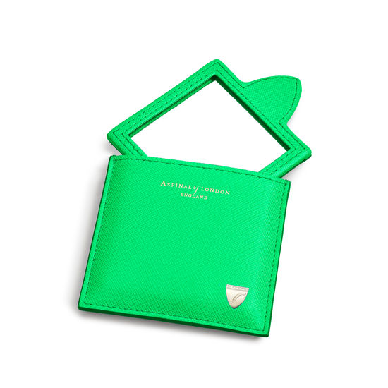 Compact Mirror in Bright Green Saffiano from Aspinal of London