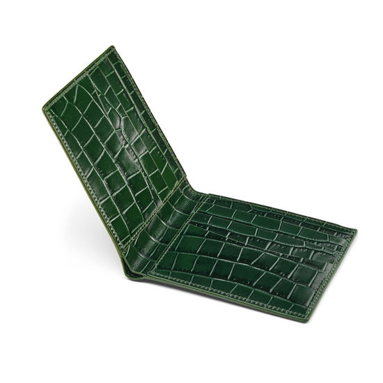 6 Card Billfold Wallet in Deep Shine British Racing Green Small Croc from Aspinal of London