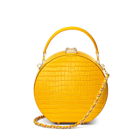Hat Box in Deep Shine Bright Mustard Small Croc from Aspinal of London