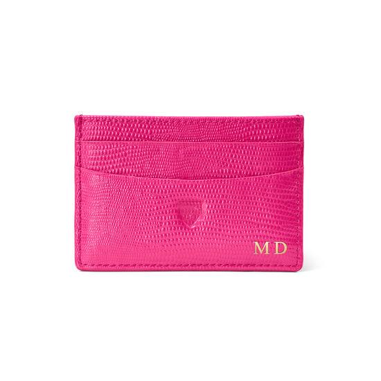 Slim Credit Card Holder in Penelope Pink Silk Lizard from Aspinal of London