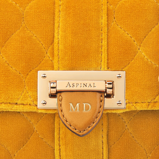 Micro Lottie Bag in Mustard Quilted Velvet from Aspinal of London