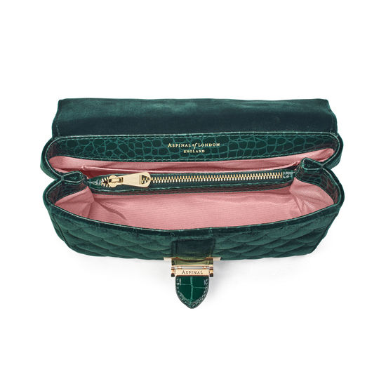 Small Lottie Bag in Evergreen Quilted Velvet from Aspinal of London