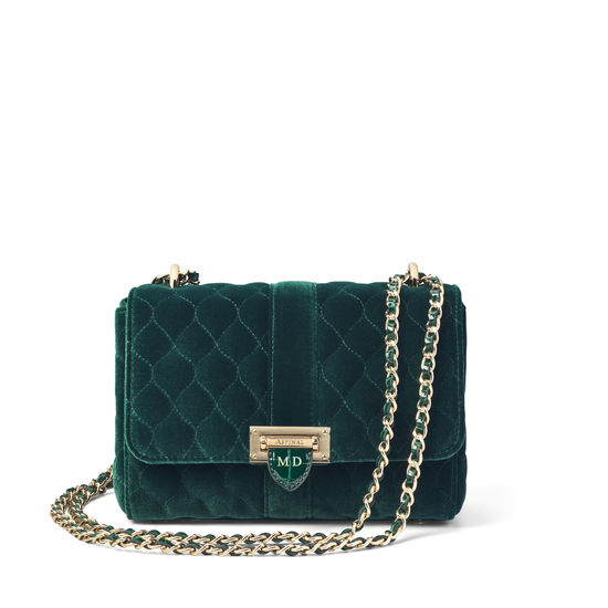 Lottie Bag in Evergreen Quilted Velvet from Aspinal of London