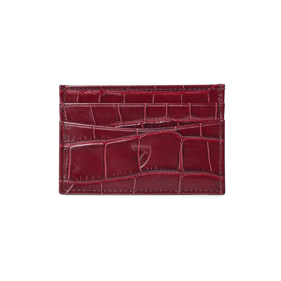 Slim Credit Card Case in Deep Shine Bordeaux Croc & Navy Suede from Aspinal of London
