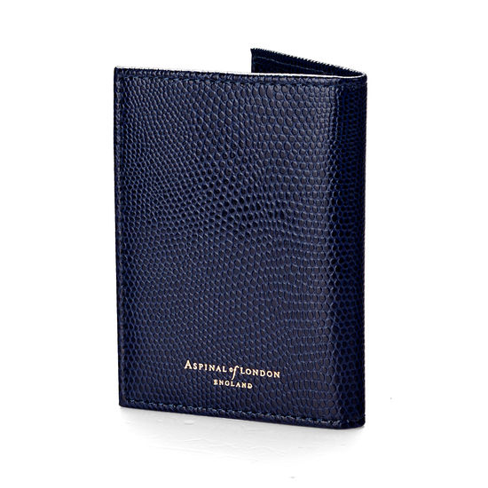 Double Fold Credit Card Case in Midnight Blue Lizard from Aspinal of London