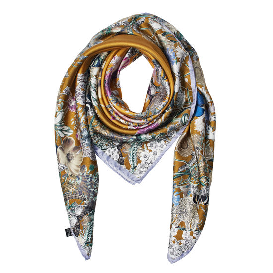 Ombre 'A' Floral Silk Scarf in Dark Mustard from Aspinal of London