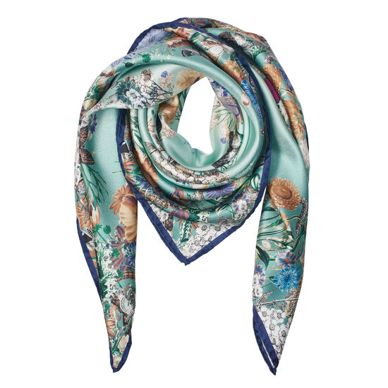 Ombre 'A' Floral Silk Scarf in Peppermint from Aspinal of London