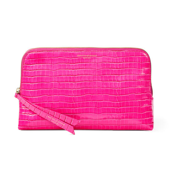 Large Essential Cosmetic Case in Deep Shine Penelope Pink Small Croc from Aspinal of London