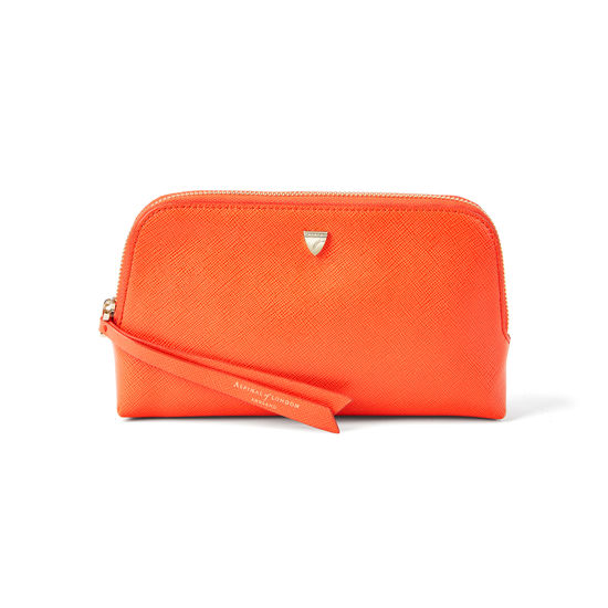 Small Essential Cosmetic Case in Bright Orange Saffiano from Aspinal of London