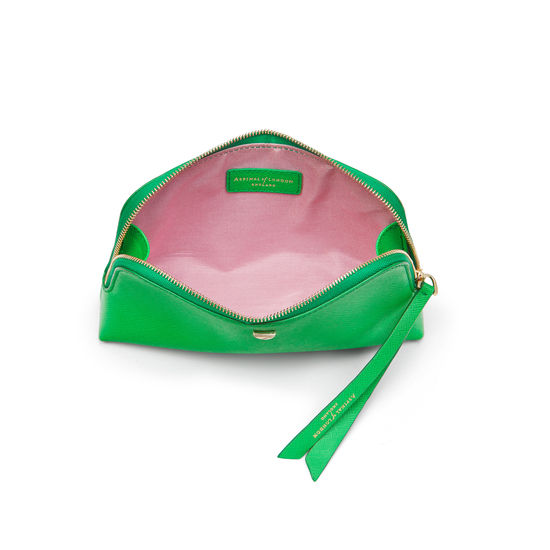 Small Essential Cosmetic Case in Bright Green Saffiano from Aspinal of London