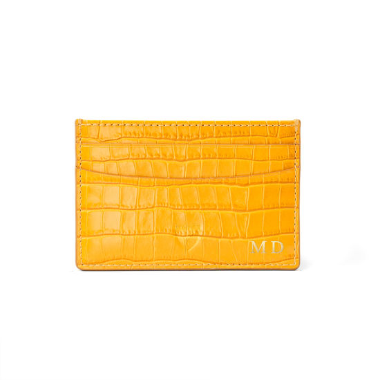 Slim Credit Card Holder in Deep Shine Bright Mustard Small Croc from Aspinal of London