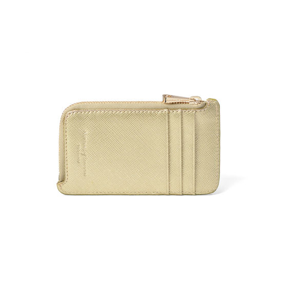 Zipped Coin & Card Holder in Gold Saffiano from Aspinal of London