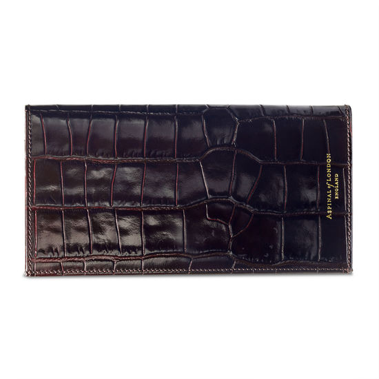 Slim Travel Wallet in Deep Shine Amazon Brown Croc from Aspinal of London