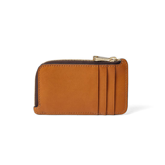 Zipped Coin & Card Holder in Smooth Tan from Aspinal of London