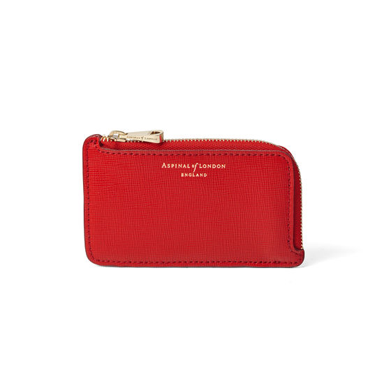 Zipped Coin & Card Holder in Scarlet Saffiano from Aspinal of London