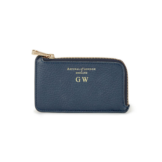 Zipped Coin & Card Holder in Navy Pebble from Aspinal of London
