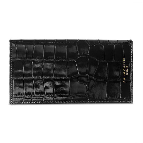 Slim Travel Wallet in Deep Shine Black Croc from Aspinal of London