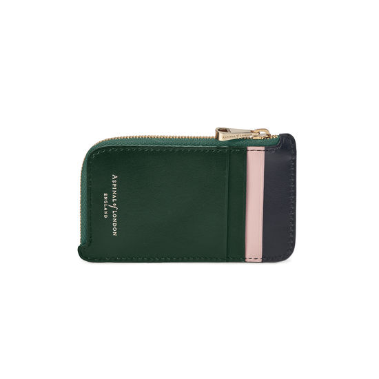 Zipped Coin & Card Holder in Smooth Evergreen, Peony & Black from Aspinal of London