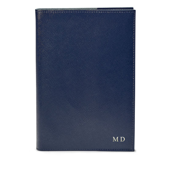 A4 Refillable Leather Journal in Navy Saffiano from Aspinal of London