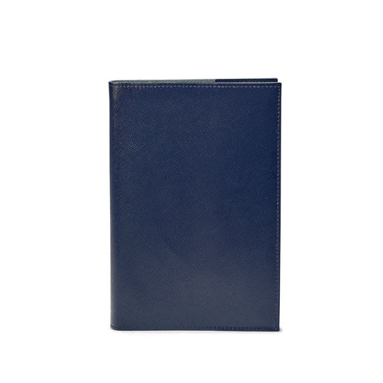 Pocket Refillable Leather Journal in Navy Saffiano from Aspinal of London