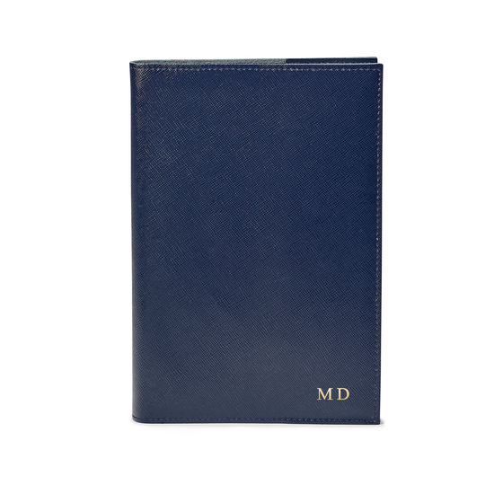 A5 Refillable Leather Journal in Navy Saffiano from Aspinal of London