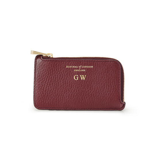 Zipped Coin & Card Holder in Bordeaux Pebble from Aspinal of London
