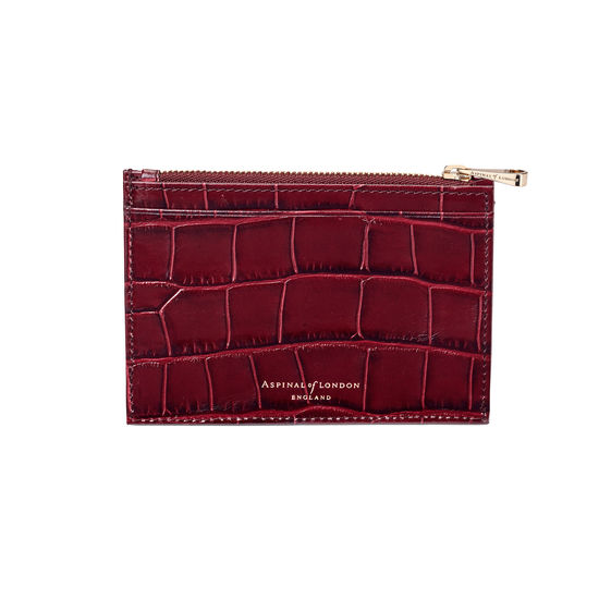 Double Sided Zipped Card & Coin Holder in Deep Shine Bordeaux Croc from Aspinal of London