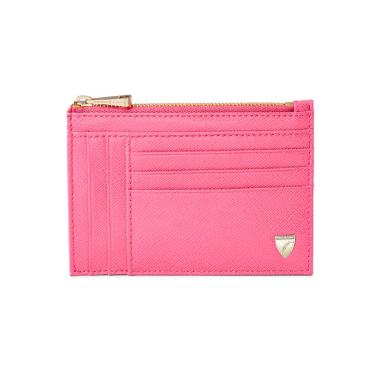 Double Sided Zipped Card & Coin Holder in Bright Pink Saffiano from Aspinal of London