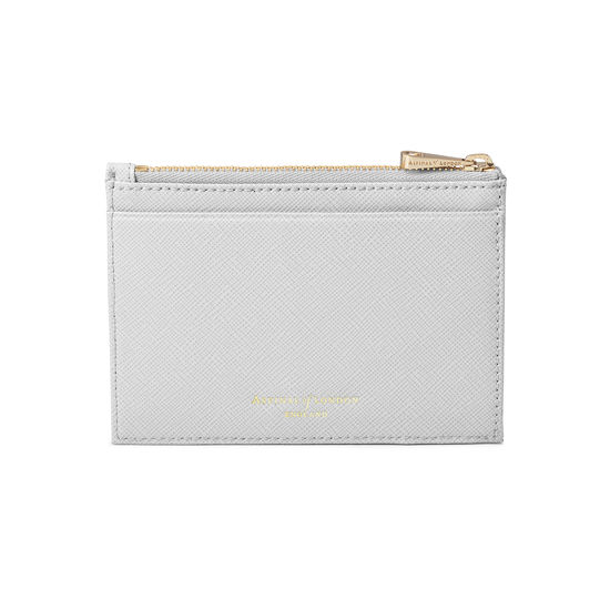 Double Sided Zipped Card & Coin Holder in Light Grey Saffiano from Aspinal of London