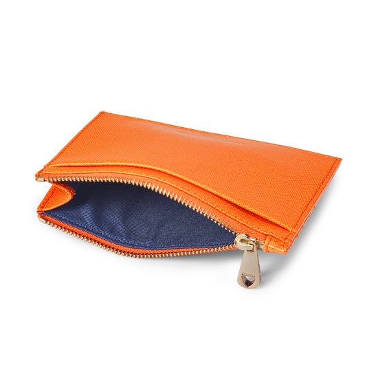 Double Sided Zipped Card & Coin Holder in Bright Orange Saffiano from Aspinal of London