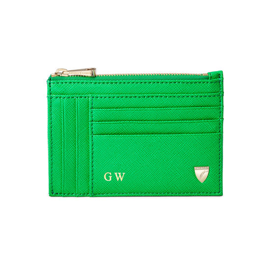 Double Sided Zipped Card & Coin Holder in Bright Green Saffiano from Aspinal of London