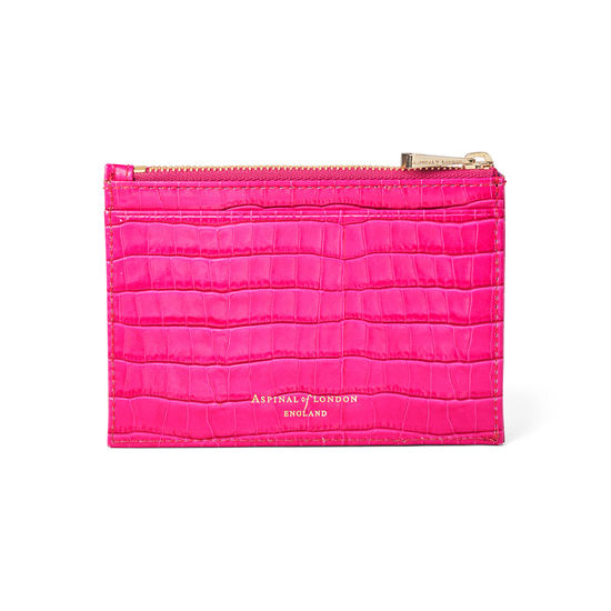 Double Sided Zipped Card & Coin Holder in Deep Shine Penelope Pink Small Croc from Aspinal of London