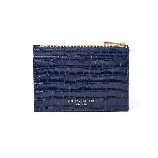 Double Sided Zipped Card & Coin Holder in Deep Shine Midnight Blue Small Croc from Aspinal of London