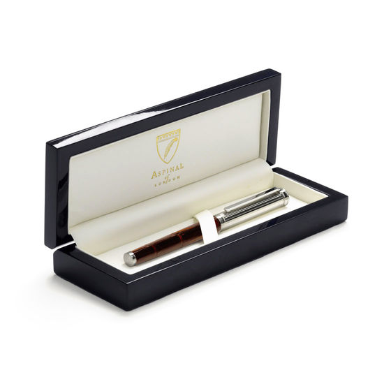 Sterling Silver & Leather Rollerball Pen in Deep Shine Amazon Brown Croc from Aspinal of London