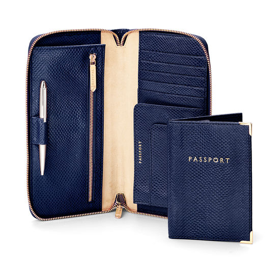 Zipped Travel Wallet with Passport Cover in Midnight Blue Lizard & Cream Suede from Aspinal of London
