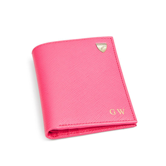 Credit Card Wallet with Notes Pocket in Bright Pink Saffiano from Aspinal of London