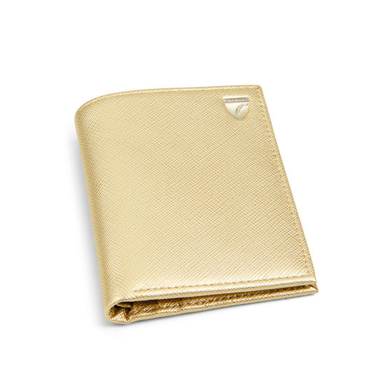 Credit Card Wallet with Notes Pocket in Gold Saffiano from Aspinal of London