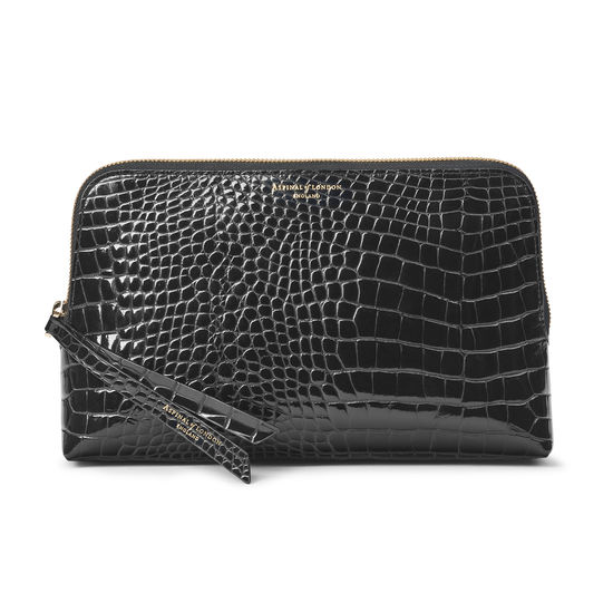 Large Essential Cosmetic Case in Black Patent Croc from Aspinal of London