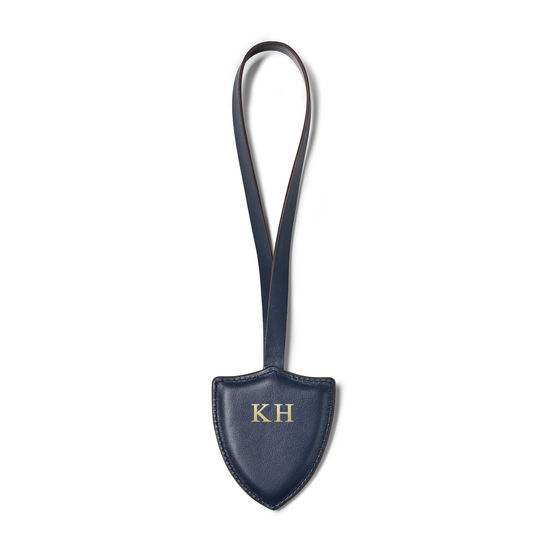 Insignia Leather Charm Key Ring in Smooth Navy from Aspinal of London