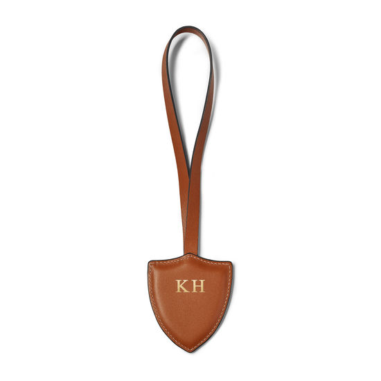 Insignia Leather Charm Key Ring in Smooth Tan from Aspinal of London