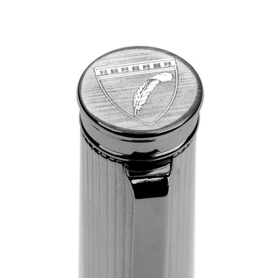 Sterling Silver & Leather Rollerball Pen in Light Grey Saffiano from Aspinal of London