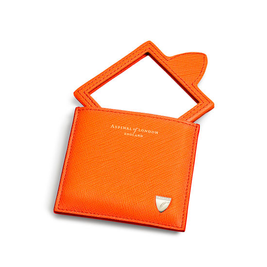 Compact Mirror in Bright Orange Saffiano from Aspinal of London