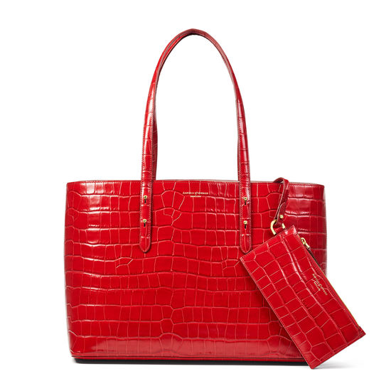 Regent Tote in Deep Shine Red Croc from Aspinal of London