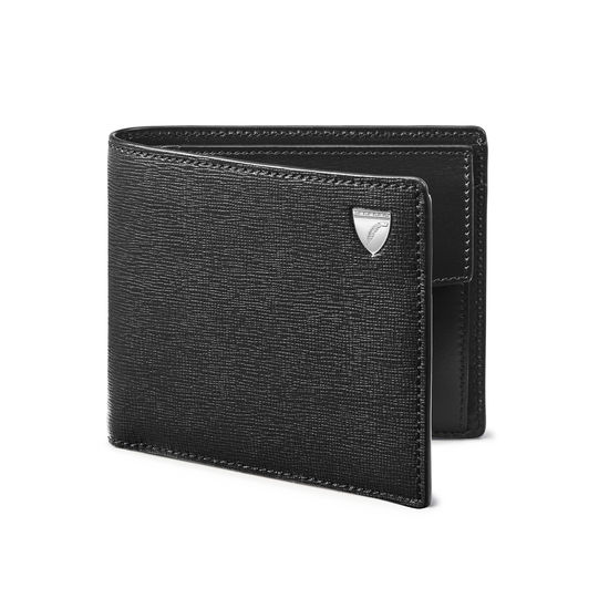 Billfold Coin Wallet in Black Saffiano & Smooth Black from Aspinal of London